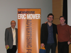 Brent Smart (center) stands with Advertising professors Brian Sheehan (right) and Dr. James Tsao (left).