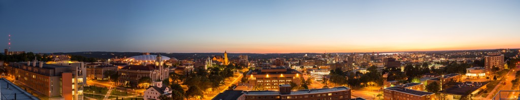 Summer Campus Scenes Panorama From Roof of Ernie Davis Lyman HL Hall of Languages Crouse College Exteriors City Downtown