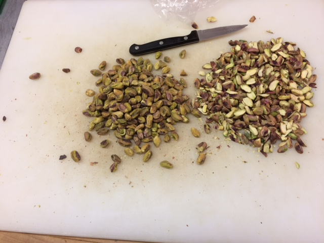 Cutting pistachios for the Haresa (Syrian dish with Semolina, ghee, tahini, pistachio and orange blossom water) and Naranji Pulav