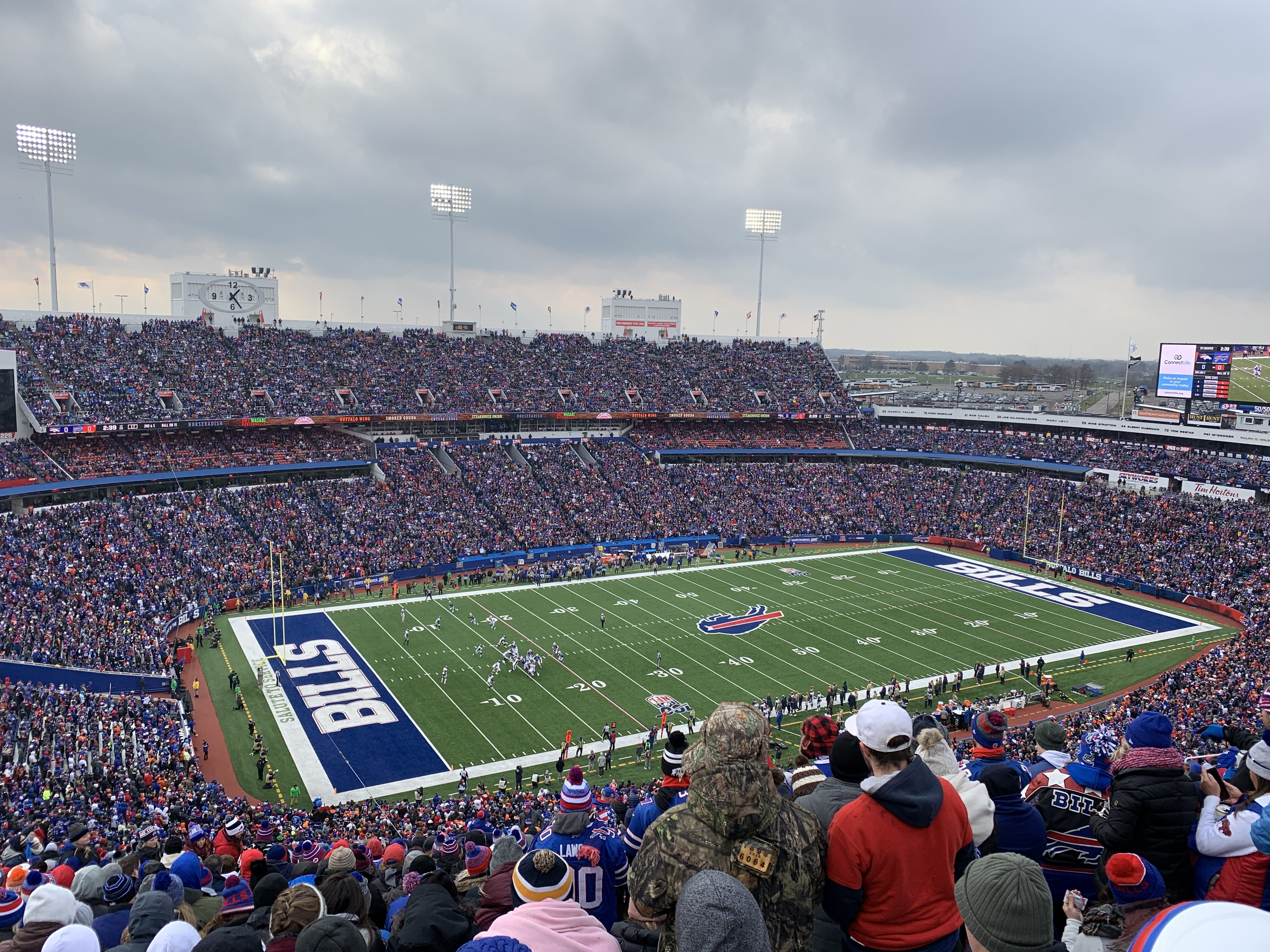 View from my seat at New Era Field during the Buffalo Bills vs Denver Broncos NFL game on Sunday, November 24, 2019.
