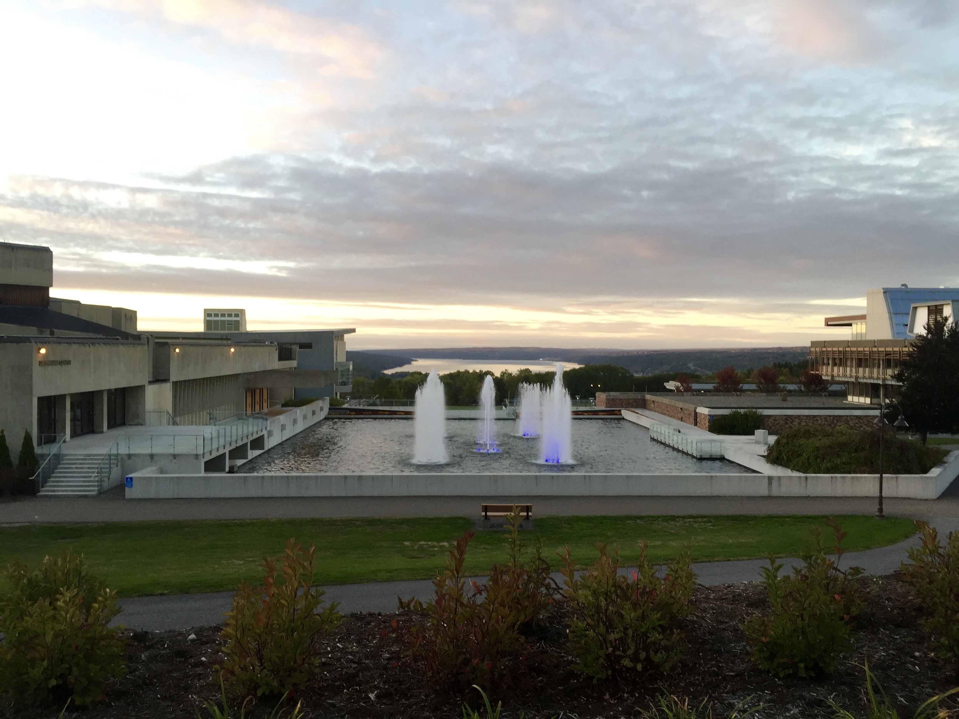 Dillingham Fountain at Ithaca College, with Cayuga Lake in the background. Photo credit: Veer Badani